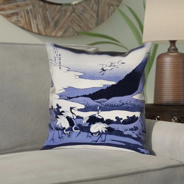 Montreal Japanese Cranes Suede Pillow Cover Size: 20