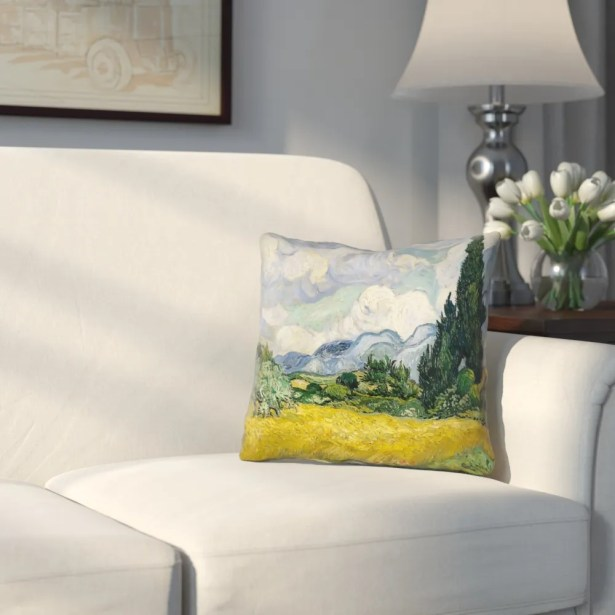 Woodlawn Wheatfield with Cypresses Linen Throw Pillow Size: 14