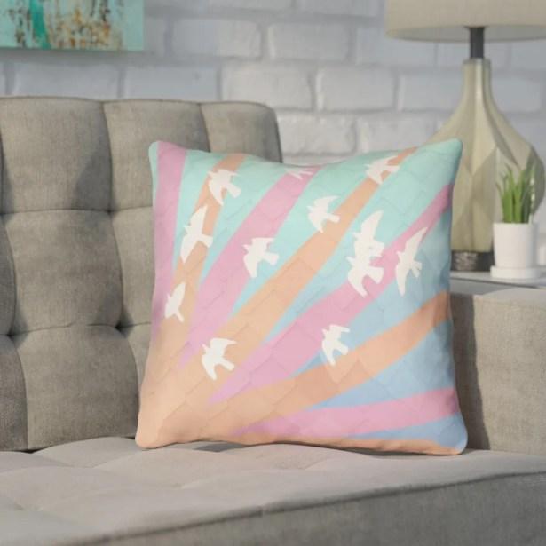 Enciso Contemporary Birds and Sun Throw Pillow Size: 20