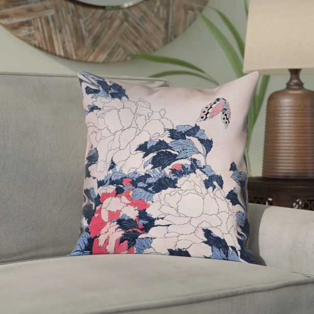 Clair Peonies and Butterfly Square Pillow Cover Size: 18