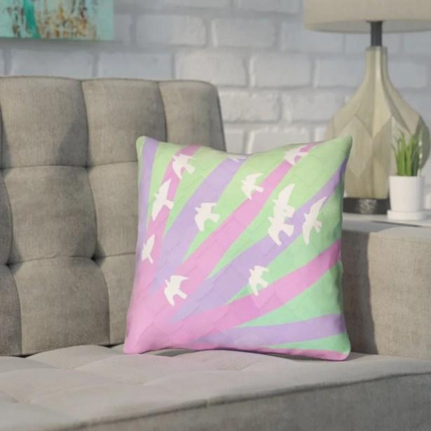 Enciso Modern Birds and Sun Pillow Cover Size: 18