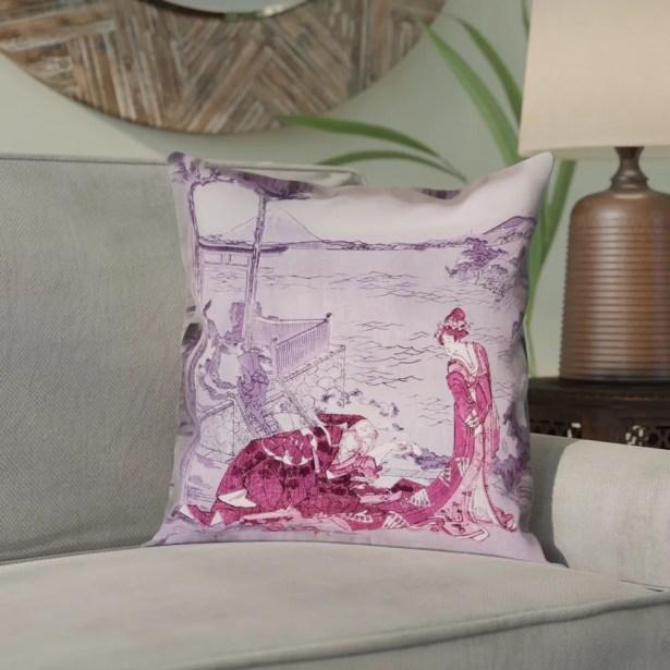 Enya Japanese Courtesan Square Cotton Pillow Cover Size: 18
