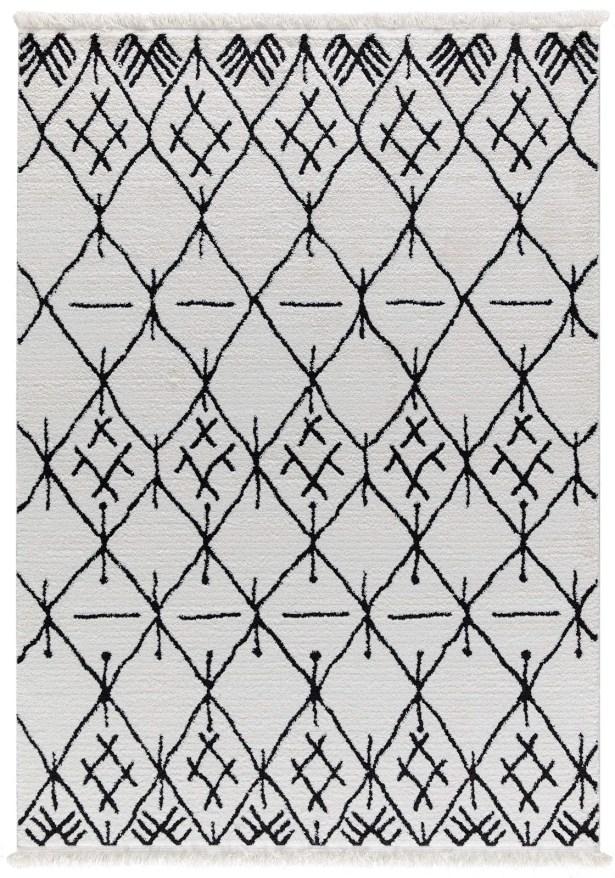 Hervey White/Charcoal Area Rug Rug Size: Rectangle 5'2