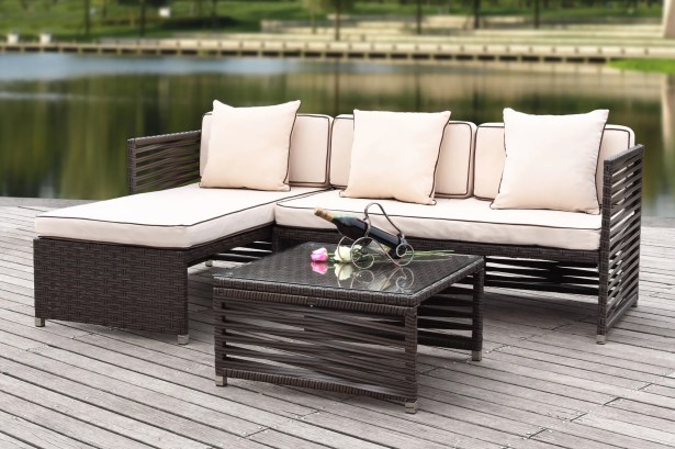 Eulalia 3 Piece Sectional Set with Cushions Color / Upholstery: Brown / Beige
