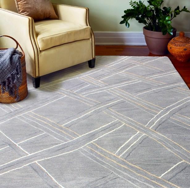 Pearl Street Artsilk Hand-Woven Wool Gray Area Rug Rug Size: Rectangle 3'9