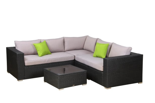 Delong 4 Piece Rattan Sectional Set with Cushions