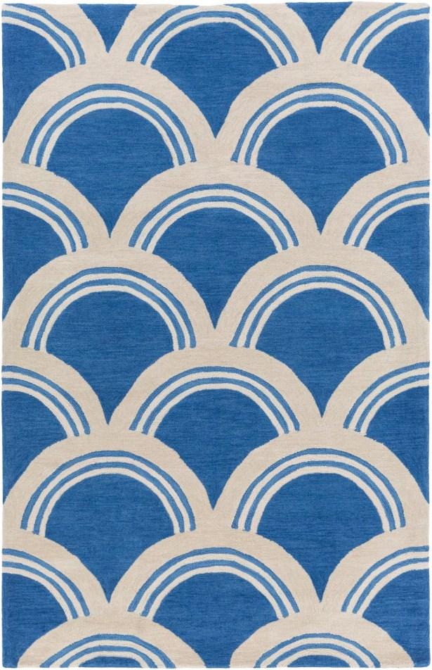 Oppenheimer Hand Tufted Blue/Ivory Area Rug Rug Size: Rectangle 3'3