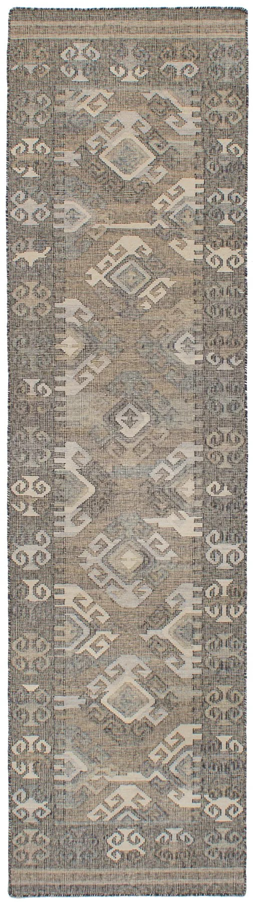 Bevers Hand Flat Woven Wool Gray Area Rug Rug Size: Runner 2'6