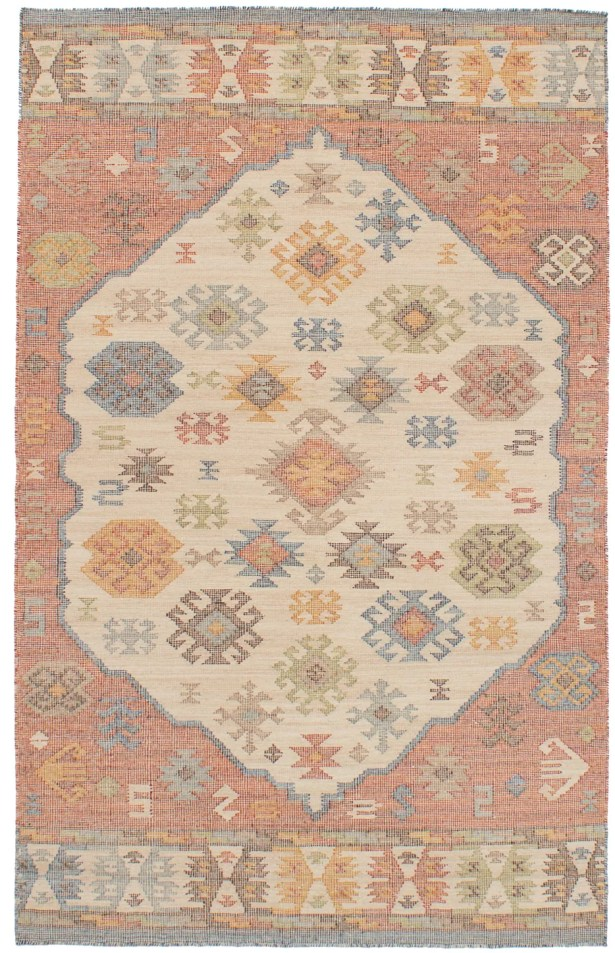 Bevers Hand-Woven Wool Cream/Red Area Rug Rug Size: Rectangle 4'11