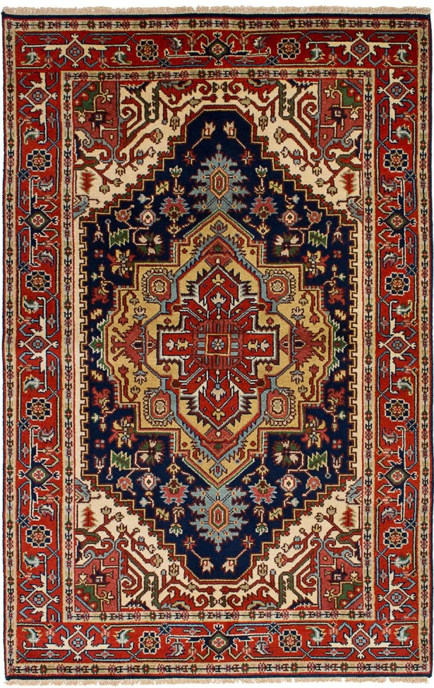 One-of-a-Kind Doerr Hand Knotted Wool Navy Blue/Red Area Rug