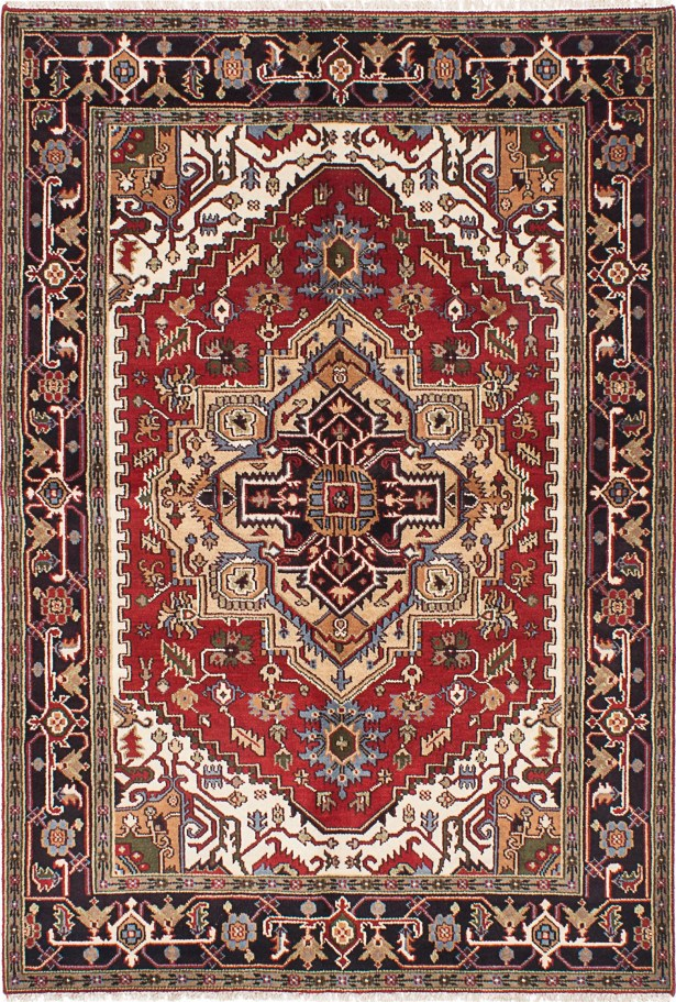 One-of-a-Kind Doerr Hand Knotted Wool Black/Dark Red Area Rug