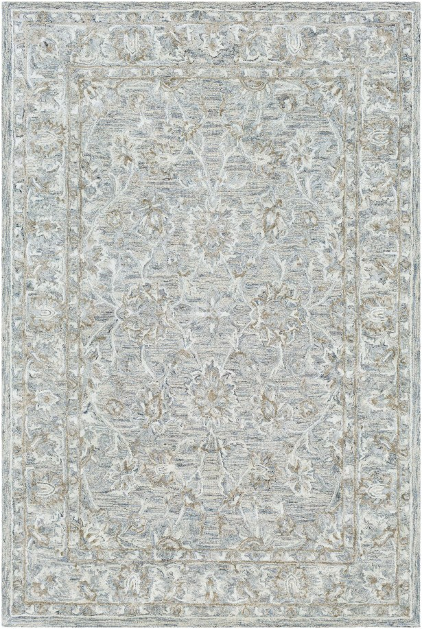 Jambi Traditional Hand-Tufted Wool Light Blue/Camel Area Rug Rug Size: Rectangle 5' x 7'6