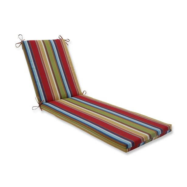 Indoor/Outdoor Chaise Lounge Cushion Fabric: Red/Blue