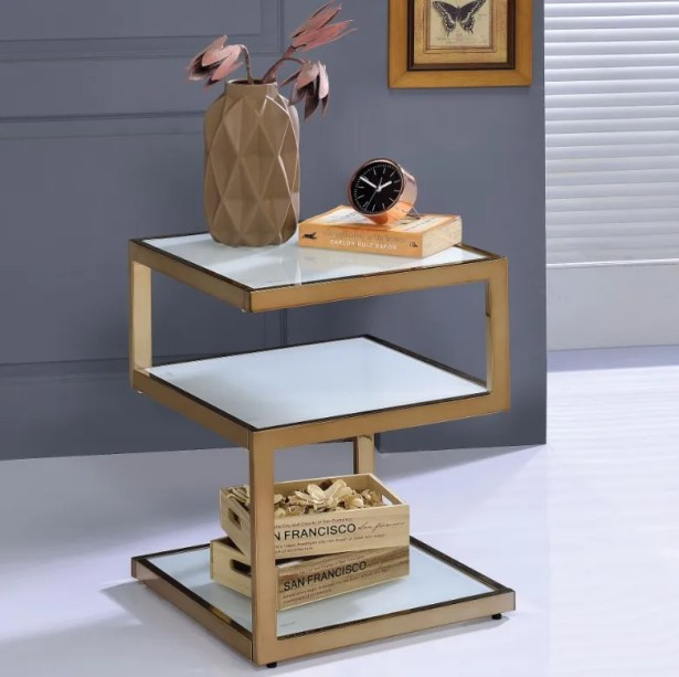 Crowley Frosted Glass and Champagne End Table Table Top Color: White