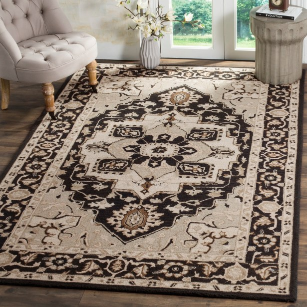 Amice Hand-Hooked Black/Natural Area Rug Rug Size: Runner 2'6
