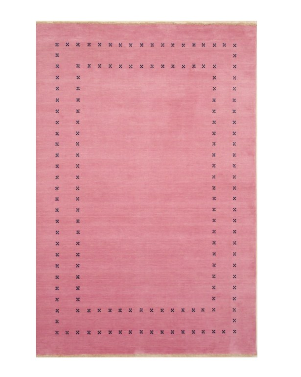 Dreher Transitional Solid Hand-Woven Wool Pink Area Rug Rug Size: Rectangle 8' x 10'