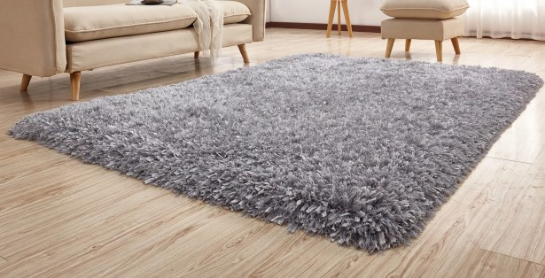 Heineman Solid Shag Hand-Tufted Silver Area Rug Rug Size: Rectangle 7'6