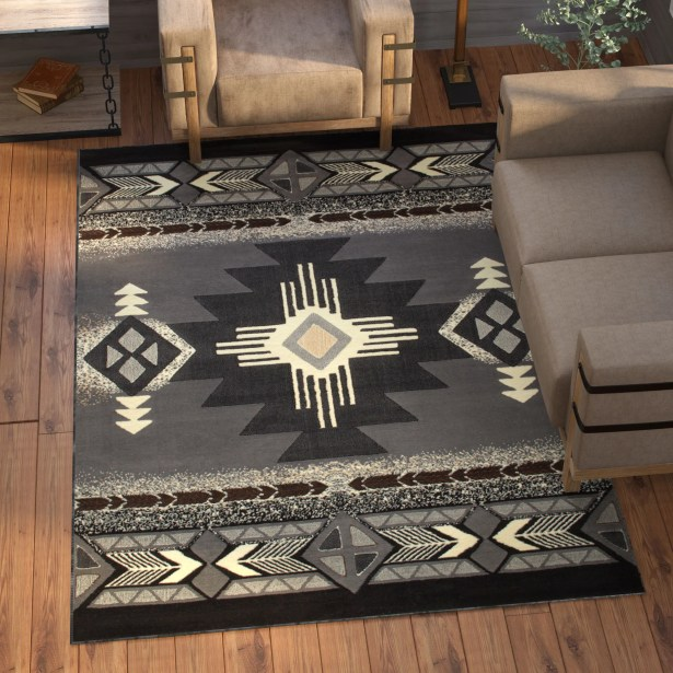 Iberide High-Quality Native Double Shot Drop-Stitch Carving Gray Area Rug Rug Size: 5'2