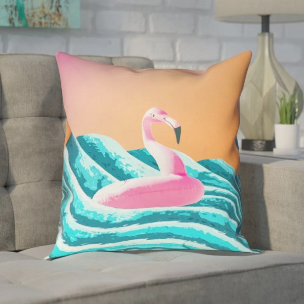 Enciso Sun and Surf Flamingo Float Square Pillow Size: 18