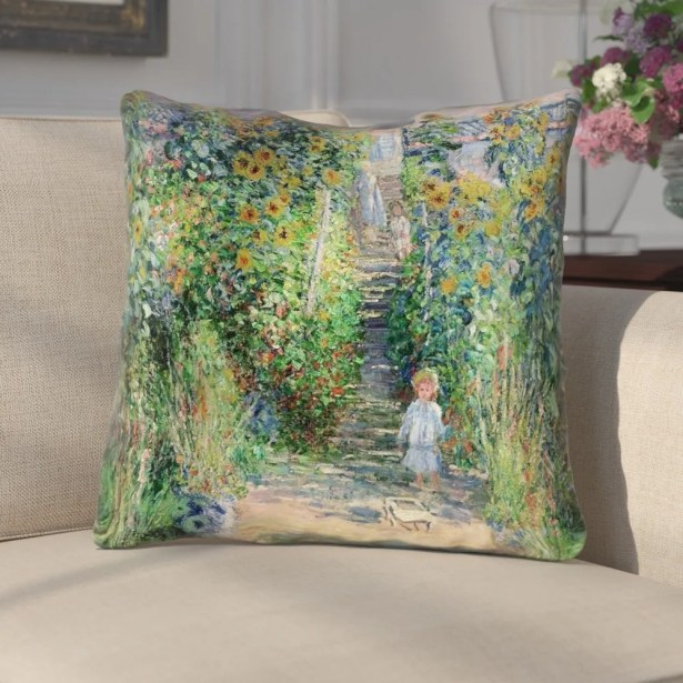 Ghislaine Flower Garden Cotton Throw Pillow Size: 20