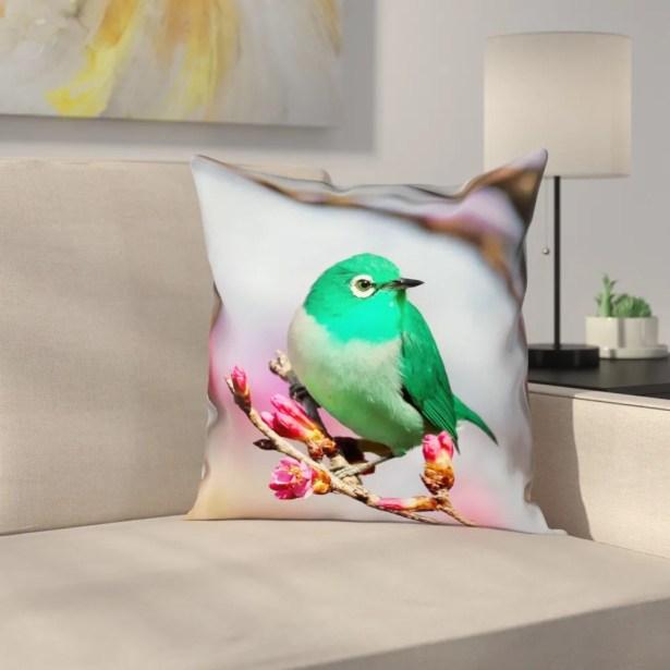 Roughton Green Bird Cotton Pillow Cover Size: 26