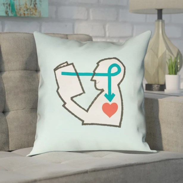 Enciso Reading Love 100% Cotton Pillow Size: 26