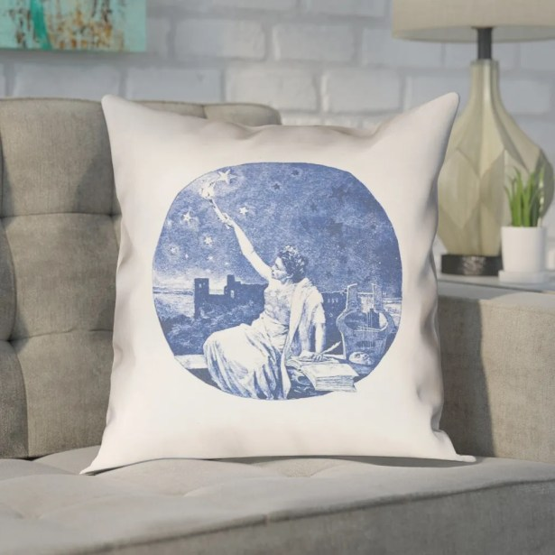 Enciso Red Vintage Goddess Outdoor Throw Pillow Color: Blue, Size: 20