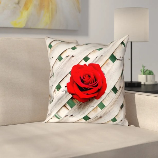 Hansard Fence Rose Indoor Throw Pillow Size: 14