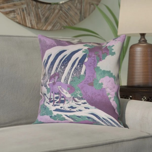 Yasmina Graphic Horse and Waterfall Pillow Cover Size: 18