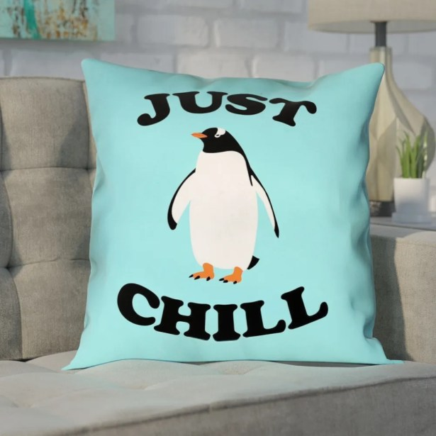 Enciso Just Chill Penguin Graphic Pillow Size: 14