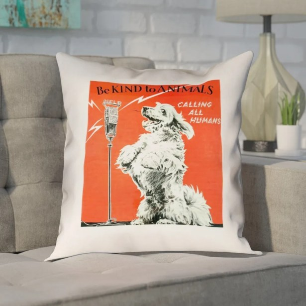 Enciso Vintage Animal Kindness Double Sided Print Pillow Size: 20