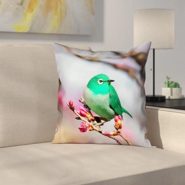Roughton Green Bird Linen Pillow Cover Size: 14