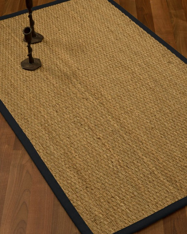 Vanmatre Border Hand-Woven Beige/Midnight Blue Area Rug Rug Size: Rectangle 6' x 9', Rug Pad Included: Yes
