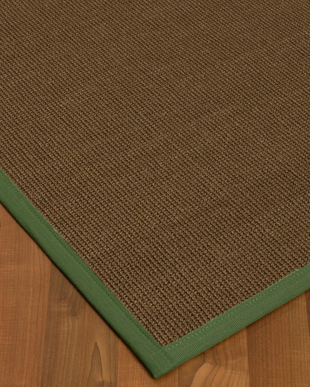 Kerner Border Hand-Woven Brown/Green Area Rug Rug Size: Rectangle 6' x 9', Rug Pad Included: Yes