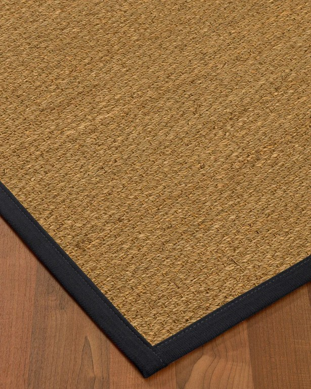 Anya Border Hand-Woven Beige/Midnight Blue Area Rug Rug Pad Included: No, Rug Size: Runner 2'6