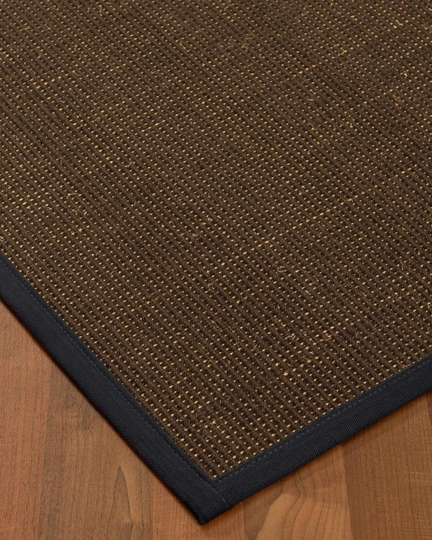 Kersh Border Hand-Woven Brown/Midnight Blue Area Rug Rug Size: Rectangle 5' x 8', Rug Pad Included: Yes