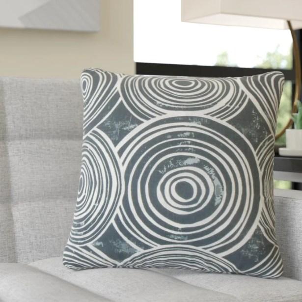 Puleo Geometric Cotton Throw Pillow Color: Blue