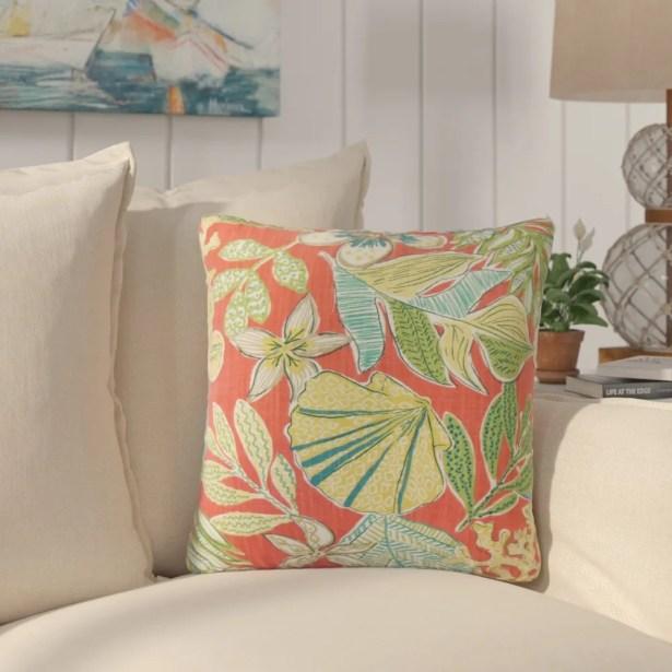 Hannatou Floral Cotton Throw Pillow Color: Coral