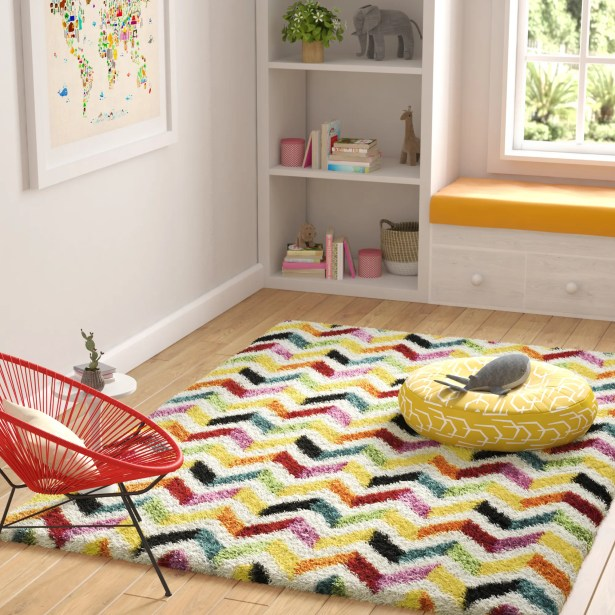Kids Yellow/Red Area Rug Rug Size: Rectangle 5'3