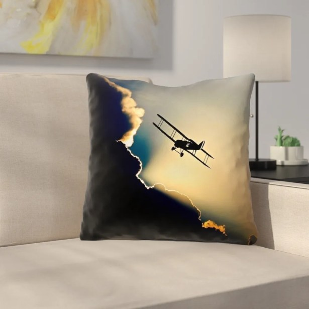 Plane in the Clouds Throw Pillow Size: 20