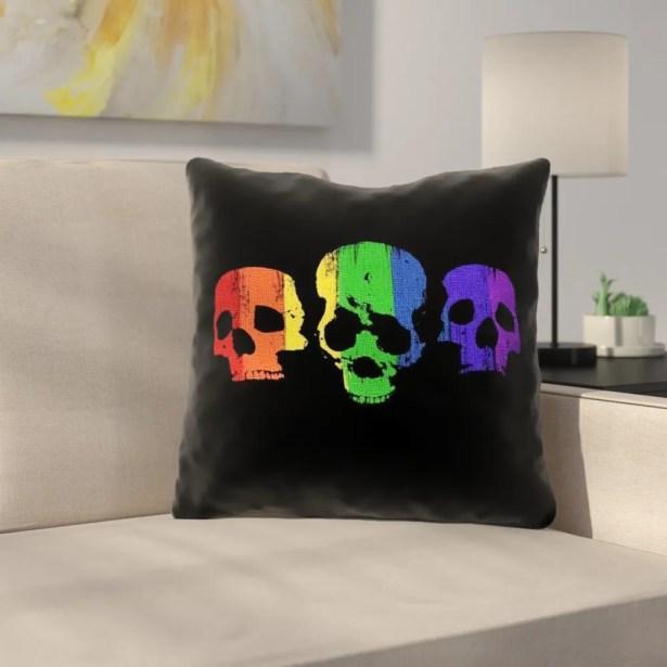 Rainbow Skulls Outdoor Throw Pillow Size: 16