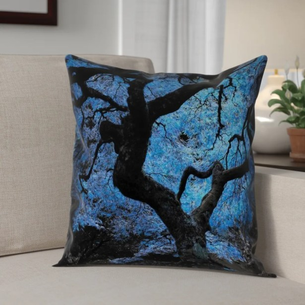 Ghost Train Japanese Maple Tree Pillow Cover Size: 20
