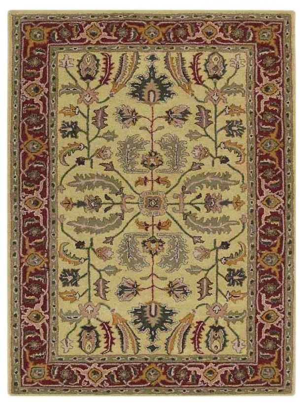Creamer Vintage Hand-Tufted Wool Gold/Red Area Rug Rug Size: Rectangle 5' x 8'