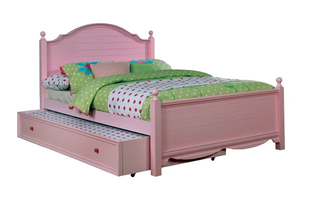 Contemporary Trundle Unit and Side Rail Bed Frame Color: Pink, Size: Full