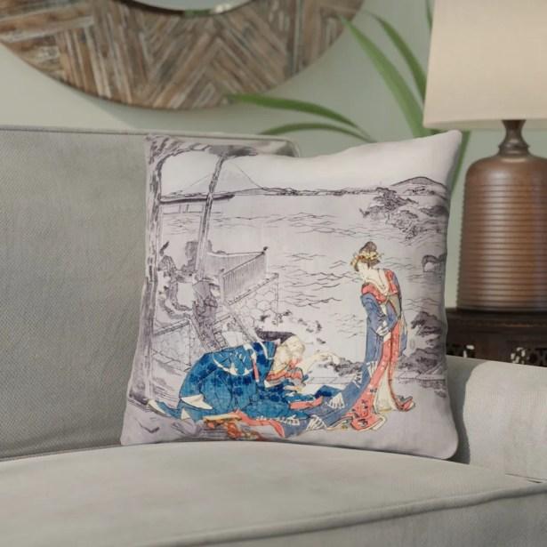 Enya Japanese Courtesan Throw Pillow  Size: 14