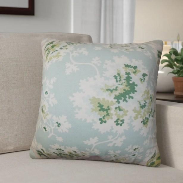 Murley Floral Cotton Throw Pillow Color: Sea Green