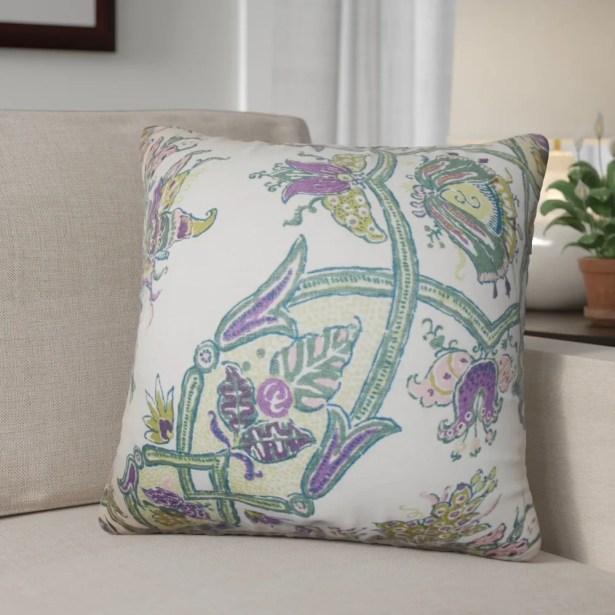 Shilpa Floral Linen Throw Pillow Color: Purple