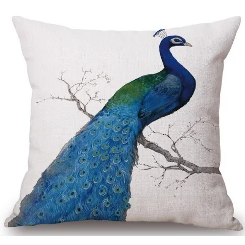 Huang Peacock Linen Throw Pillow