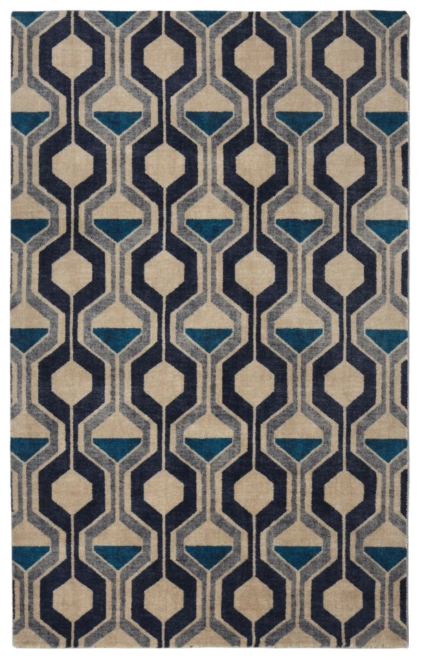 Pacheco Ring Road Mid-Century Modern Geometric Blue/Beige Area Rug Rug Size: Rectangle 5'6