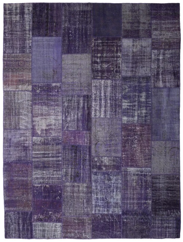 One-of-a-Kind Corrie Overdyed Patchwork Hand-Knotted Wool Purple Area Rug